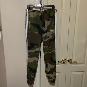 Adidas Fleece Pants Green Brown Tan Large Joggers